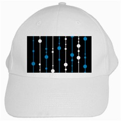Blue, white and black pattern White Cap