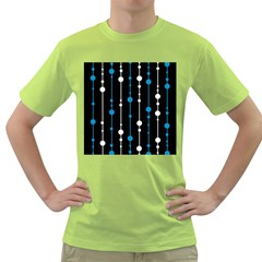 Blue, white and black pattern Green T-Shirt