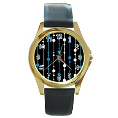 Blue, white and black pattern Round Gold Metal Watch