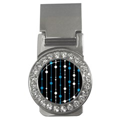 Blue, white and black pattern Money Clips (CZ)