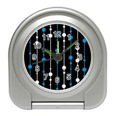 Blue, white and black pattern Travel Alarm Clocks