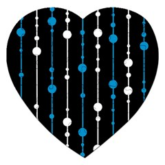 Blue, white and black pattern Jigsaw Puzzle (Heart)