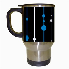 Blue, white and black pattern Travel Mugs (White)