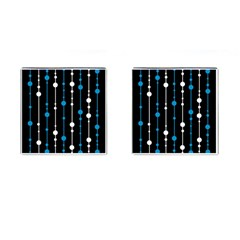 Blue, white and black pattern Cufflinks (Square)