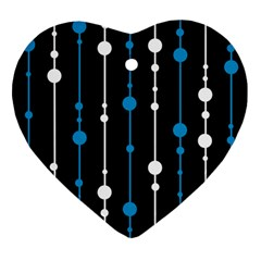 Blue, white and black pattern Heart Ornament (2 Sides)