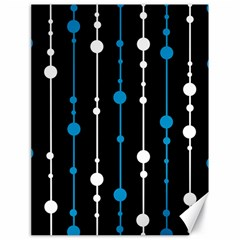 Blue, white and black pattern Canvas 18  x 24