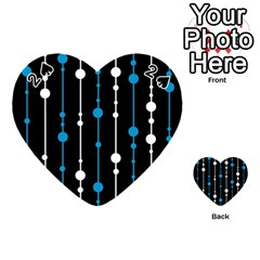 Blue, white and black pattern Playing Cards 54 (Heart)