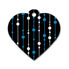 Blue, white and black pattern Dog Tag Heart (Two Sides)