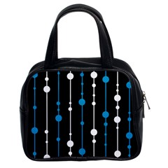 Blue, white and black pattern Classic Handbags (2 Sides)