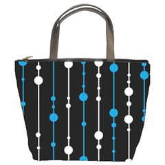 Blue, white and black pattern Bucket Bags