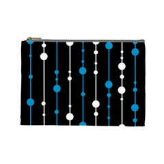Blue, white and black pattern Cosmetic Bag (Large)