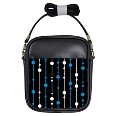 Blue, white and black pattern Girls Sling Bags
