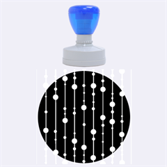 Blue, white and black pattern Rubber Round Stamps (Large)