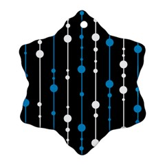 Blue, white and black pattern Snowflake Ornament (2-Side)