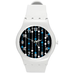 Blue, white and black pattern Round Plastic Sport Watch (M)