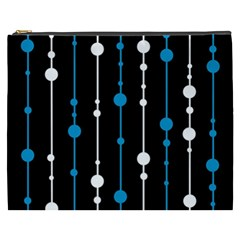 Blue, white and black pattern Cosmetic Bag (XXXL)