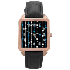 Blue, white and black pattern Rose Gold Leather Watch