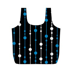 Blue, white and black pattern Full Print Recycle Bags (M)