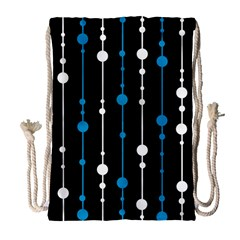 Blue, white and black pattern Drawstring Bag (Large)