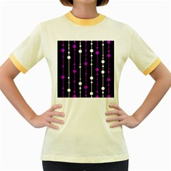 Purple, black and white pattern Women s Fitted Ringer T-Shirts
