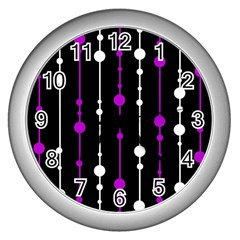 Purple, black and white pattern Wall Clocks (Silver)