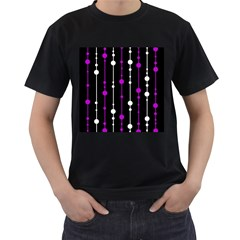 Purple, black and white pattern Men s T-Shirt (Black) (Two Sided)