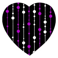 Purple, black and white pattern Jigsaw Puzzle (Heart)