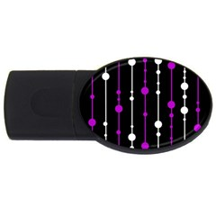 Purple, black and white pattern USB Flash Drive Oval (4 GB)