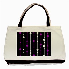 Purple, black and white pattern Basic Tote Bag