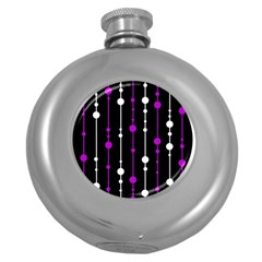 Purple, black and white pattern Round Hip Flask (5 oz)