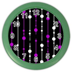 Purple, black and white pattern Color Wall Clocks