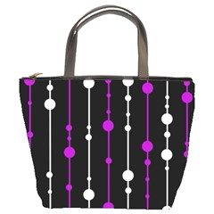 Purple, black and white pattern Bucket Bags