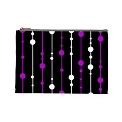 Purple, black and white pattern Cosmetic Bag (Large)
