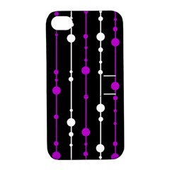 Purple, black and white pattern Apple iPhone 4/4S Hardshell Case with Stand