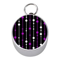 Purple, black and white pattern Mini Silver Compasses