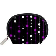 Purple, black and white pattern Accessory Pouches (Small)