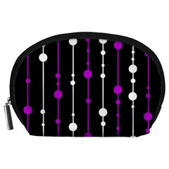 Purple, black and white pattern Accessory Pouches (Large)