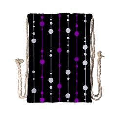 Purple, black and white pattern Drawstring Bag (Small)