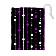 Purple, black and white pattern Drawstring Pouches (Extra Large)