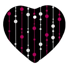 Magenta white and black pattern Ornament (Heart)
