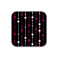 Magenta white and black pattern Rubber Coaster (Square)