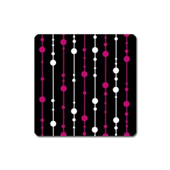 Magenta white and black pattern Square Magnet