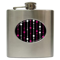 Magenta white and black pattern Hip Flask (6 oz)