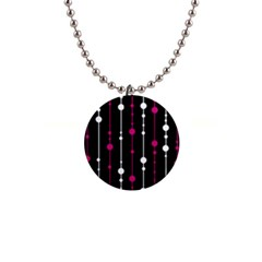 Magenta white and black pattern Button Necklaces