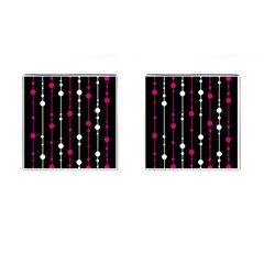 Magenta white and black pattern Cufflinks (Square)