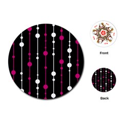 Magenta white and black pattern Playing Cards (Round)