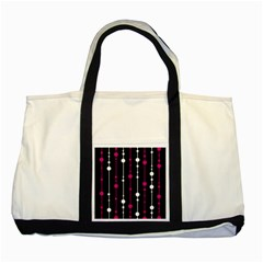 Magenta white and black pattern Two Tone Tote Bag