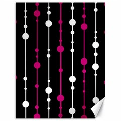 Magenta white and black pattern Canvas 18  x 24