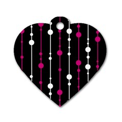 Magenta white and black pattern Dog Tag Heart (Two Sides)