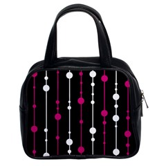 Magenta white and black pattern Classic Handbags (2 Sides)